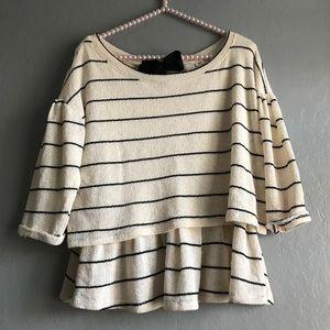 Anthro Postmark knitted striped Peplum blouse | M